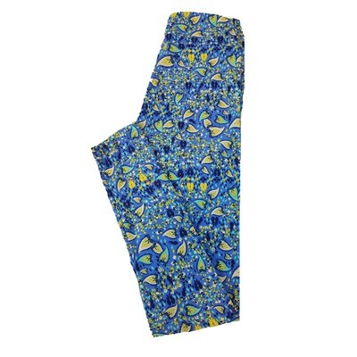 LuLaRoe Tween Floral Blue Green Leggings Fits Adult Sizes 00-0