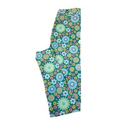 LuLaRoe Tween Floral Green Blue White Lavender Polka Dot Leggings Fits Adult Sizes 00-0