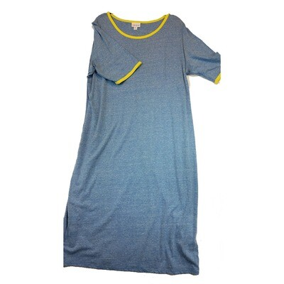 JULIA XXX-Large 3XL Solid Blue with Yellow Trim Form Fitting Dress fits sizes 24-26