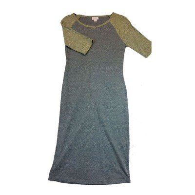 JULIA X-Small XS Solid Blue Grey with Dark Yellow Sleeves Form Fitting Dress fits sizes 2-4
