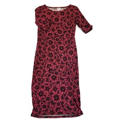 JULIA X-Small XS Pink, Purple and Black Daisies Floral Form Fitting Dress fits sizes 2-4
