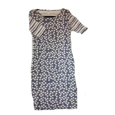 JULIA Small S Grey and White Polka Dot Front, Stripe Back Form Fitting Dress fits sizes 4-6