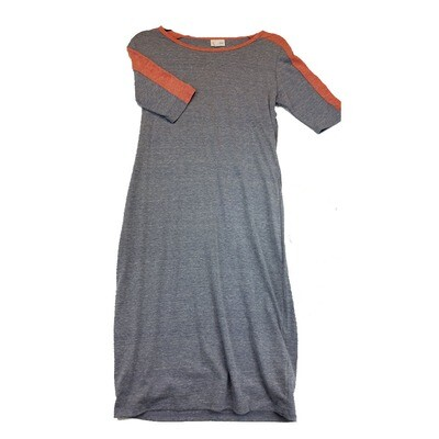 JULIA Small S Blue Grey with Pink Shoulder Stripes Form Fitting Dress fits sizes 4-6