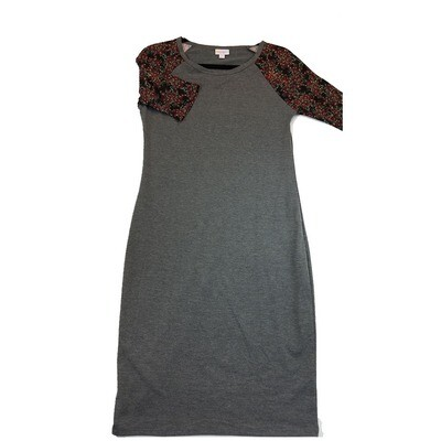 JULIA Small S Solid Grey with Maroon Floral Sleeves Form Fitting Dress fits sizes 4-6