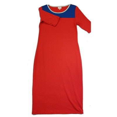 JULIA Small S Solid Red with Blue Neckline Form Fitting Dress fits sizes 4-6
