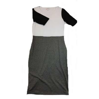 JULIA Small S Solid Grey and White with Black Sleeves Form Fitting Dress fits sizes 4-6