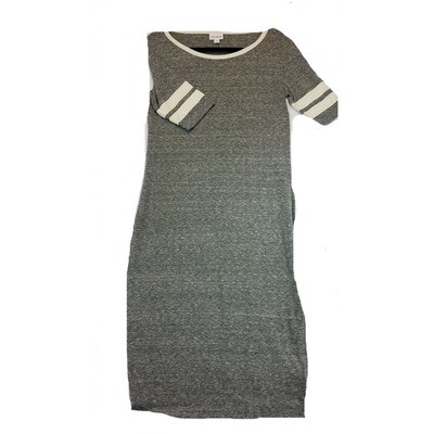 JULIA Small S Solid Grey with White Stripes on Sleeves Form Fitting Dress fits sizes 4-6