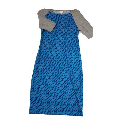 JULIA Small S Blue Geometric Stripe with Grey Sleeves Form Fitting Dress fits sizes 4-6