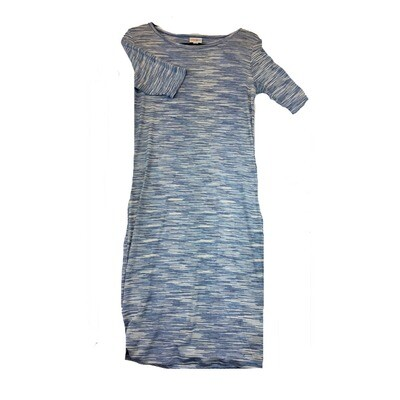 JULIA Small S Blue and White Gradient Geometric Form Fitting Dress fits sizes 4-6