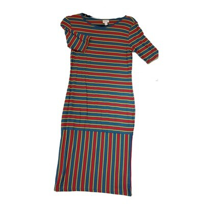 JULIA Small S Red, Blue and Yellow Stripe Form Fitting Dress fits sizes 4-6