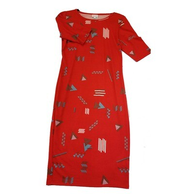 JULIA Small S Red Teal and White Geometric Form Fitting Dress fits sizes 4-6