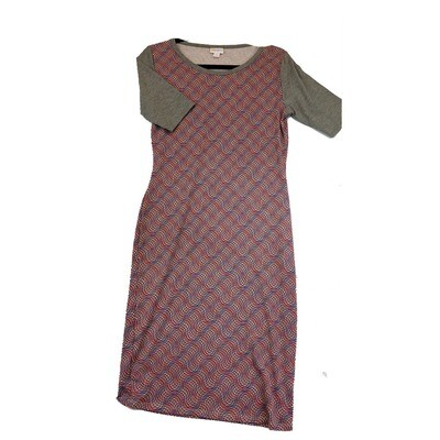 JULIA Small S Blue Red and Grey Trippy Geometric Stripe Form Fitting Dress fits sizes 4-6