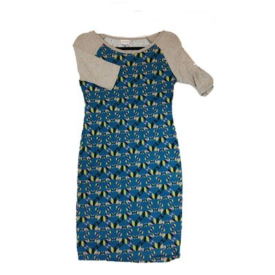 JULIA X-Small XS Blue Black and Green with Light Grey Sleeves Zig Zag Geometric Stripe Form Fitting Dress fits sizes 2-4
