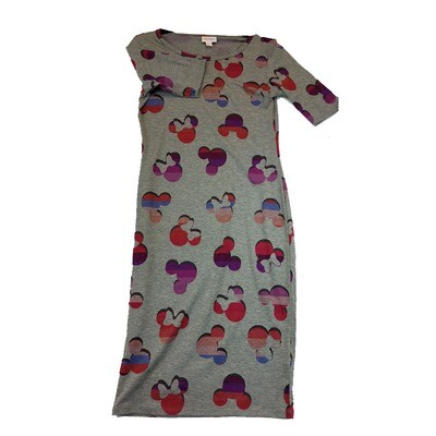 JULIA X-Small XS Disney Mickey and Minne Mouse Solid Grey with Purple Red Blue Teal Form Fitting Dress fits sizes 2-4