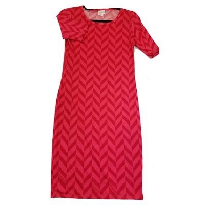 JULIA X-Small XS Deep Red and Pink Herringbone Stripe Geometric Form Fitting Dress fits sizes 2-4