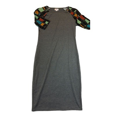 JULIA X-Small XS Solid Dark Grey with Black and Green Geometric Sleeves Form Fitting Dress fits sizes 2-4
