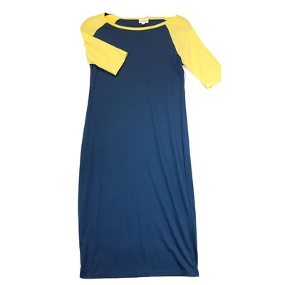 JULIA X-Small XS Solid Blue with Yellow Sleeves Form Fitting Dress fits sizes 2-4