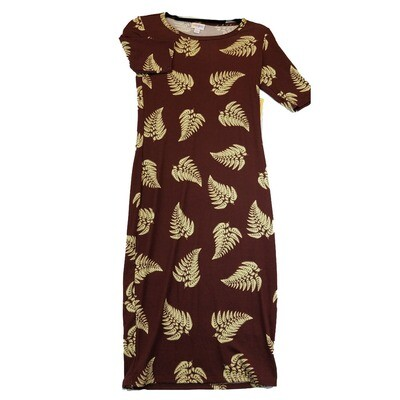 JULIA X-Small XS Solid Maroon with Cream Fern Leaves Floral Form Fitting Dress fits sizes 2-4