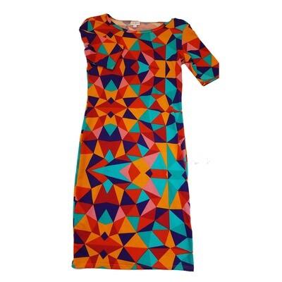 JULIA X-Small XS Blue, Orange, Teal Read and Green Hypnotic Geometric Form Fitting Dress fits sizes 2-4
