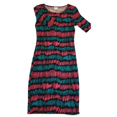 JULIA X-Small XS Black, Pink and Blue Stripe Form Fitting Dress fits sizes 2-4