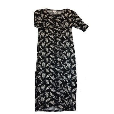 JULIA X-Small XS Black With Cream, Grey and White Feathers Polka Dots Form Fitting Dress fits sizes 2-4