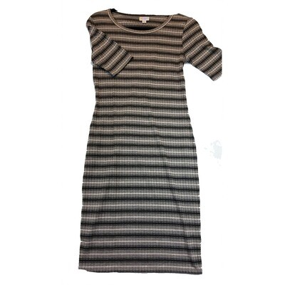JULIA X-Small XS Grey, Black and White Ribbed Stripe Form Fitting Dress fits sizes 2-4