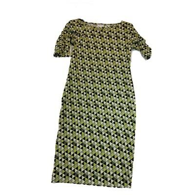 JULIA X-Small XS Black Grey Yellow Triangle Polka Dot Geometric Form Fitting Dress fits sizes 2-4