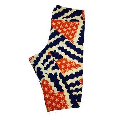 LuLaRoe Tall Curvy TC Americana USA Stars Stripes Flag Polka Dot Red White Blue Leggings fits sizes 12-18