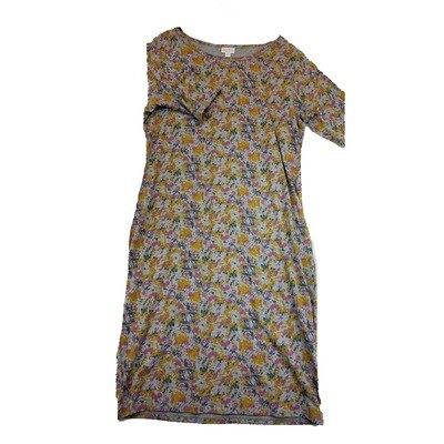 JULIA XX-Large 2XL Grey, Yellow and Blue Abstract Geometric Form Fitting Dress fits sizes 20-22