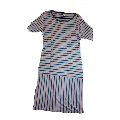 JULIA XX-Large 2XL Light Lavender with Blue Stripes Form Fitting Dress fits sizes 20-22