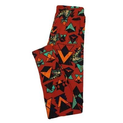 LuLaRoe One Size OS Butterfly Southwestern Geometric Red Black Green Leggings fit Sizes 2-10