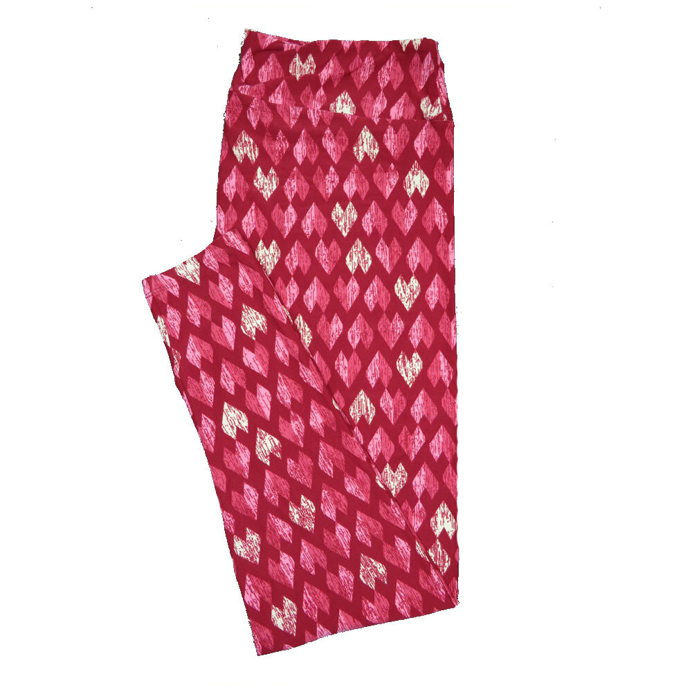 LuLaRoe TC2 ( fits Adult Sizes 18+ ) Valentines Black Cream Red Polka Dot Hearts Leggings