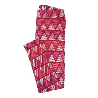 LuLaRoe Tall Curvy ( TC ) Valentines Red White Pink Geometric Triangle X's O's Hearts Leggings fits Adult sizes 12-18