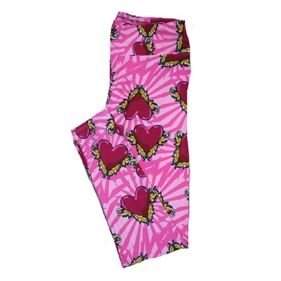 LuLaRoe Tall Curvy ( TC ) Valentines Trippy Pink Red Green Floral Hearts Leggings fits Adult sizes 12-18