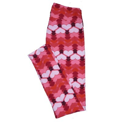 LuLaRoe One Size ( OS ) Valentines Red Pink Black Shooting Hearts Leggings fits Adult sizes 2-10