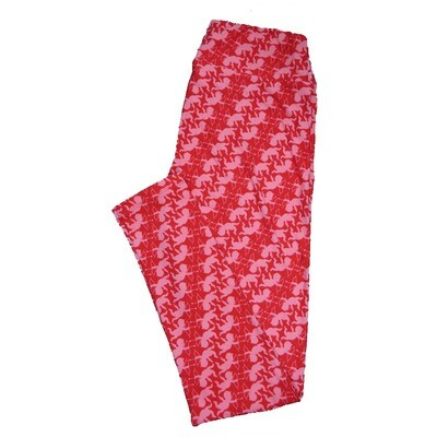 LuLaRoe One Size ( OS ) Valentines Cupid Arrow Geometric Stripe Hearts Leggings fits Adult sizes 2-10