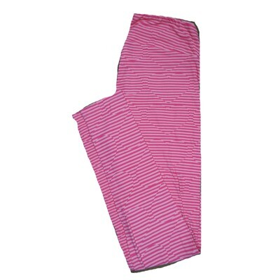 LuLaRoe One Size ( OS ) Valentines Two Tone Pink Stripe Hearts Leggings fits Adult sizes 2-10