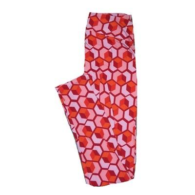 LuLaRoe One Size ( OS ) Valentines Large Red Pink Geometric Cube Hearts Leggings fits Adult sizes 2-10