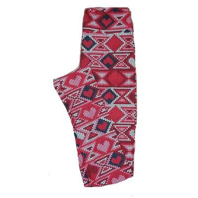 LuLaRoe One Size ( OS ) Valentines Red Black White Pink Geomtric Poka Dot Stripe Hearts Leggings fits Adult sizes 2-10