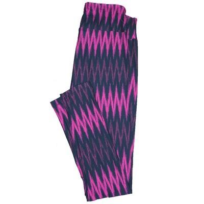 LuLaRoe One Size ( OS ) Valentines Magenta Pink Zig Zag Stripe Hearts Leggings fits Adult sizes 2-10