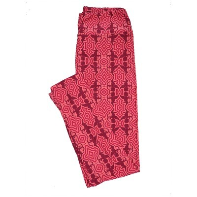 LuLaRoe One Size ( OS ) Valentines Cupids Arrows Pink Red Geometric Hearts Leggings fits Adult sizes 2-10