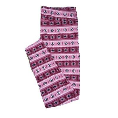 LuLaRoe One Size ( OS ) Valentines Southwestern Stripe Black Gray White Hearts Leggings fits Adult sizes 2-10