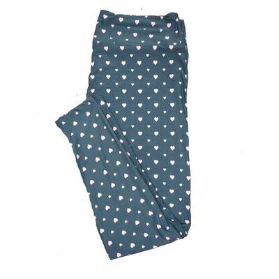 LuLaRoe One Size ( OS ) Valentines Green White Polka Dot Hearts Leggings fits Adult sizes 2-10