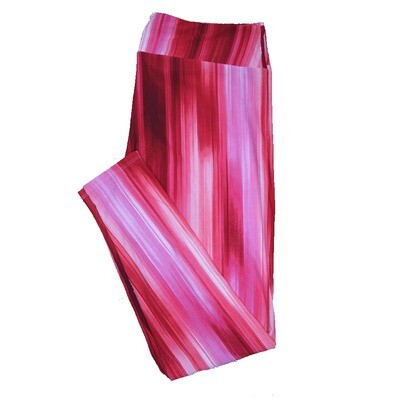 LuLaRoe One Size ( OS ) Valentines Pink Red Waterfall Stripes Leggings fits Adult sizes 2-10