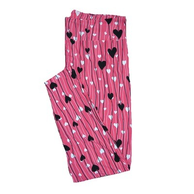 LuLaRoe TC2 ( fits Adult Sizes 18+ ) Valentines Pink with Black and White Stripe Hearts Leggings
