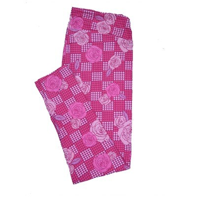 LuLaRoe TC2 ( fits Adult Sizes 18+ ) Valentines Red with Cream Pink Geometric Hearts Leggings