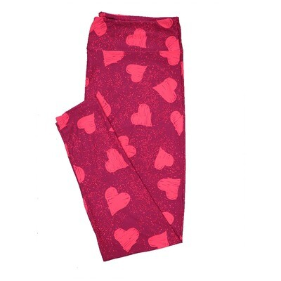LuLaRoe TC2 ( fits Adult Sizes 18+ ) Valentines Red with Light Red Hearts Leggings