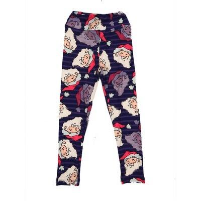 LuLaRoe Kids Small-Medium Christmas Santa Claus St Nick Geometric Stripe Leggings ( S/M fits kids 2-8 ) SM-1005-G