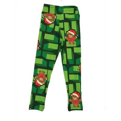 LuLaRoe Kids Small-Medium Christmas Teddy Bear Geometric Leggings ( S/M fits kids 2-8 ) SM-1005-H