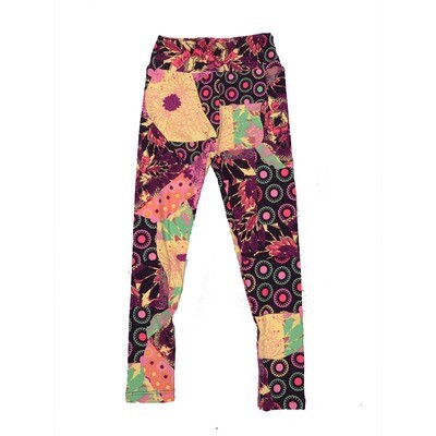LuLaRoe Kids Small-Medium Floral Geometric Polka Dot Leggings ( S/M fits kids 2-8 ) SM-1001-L